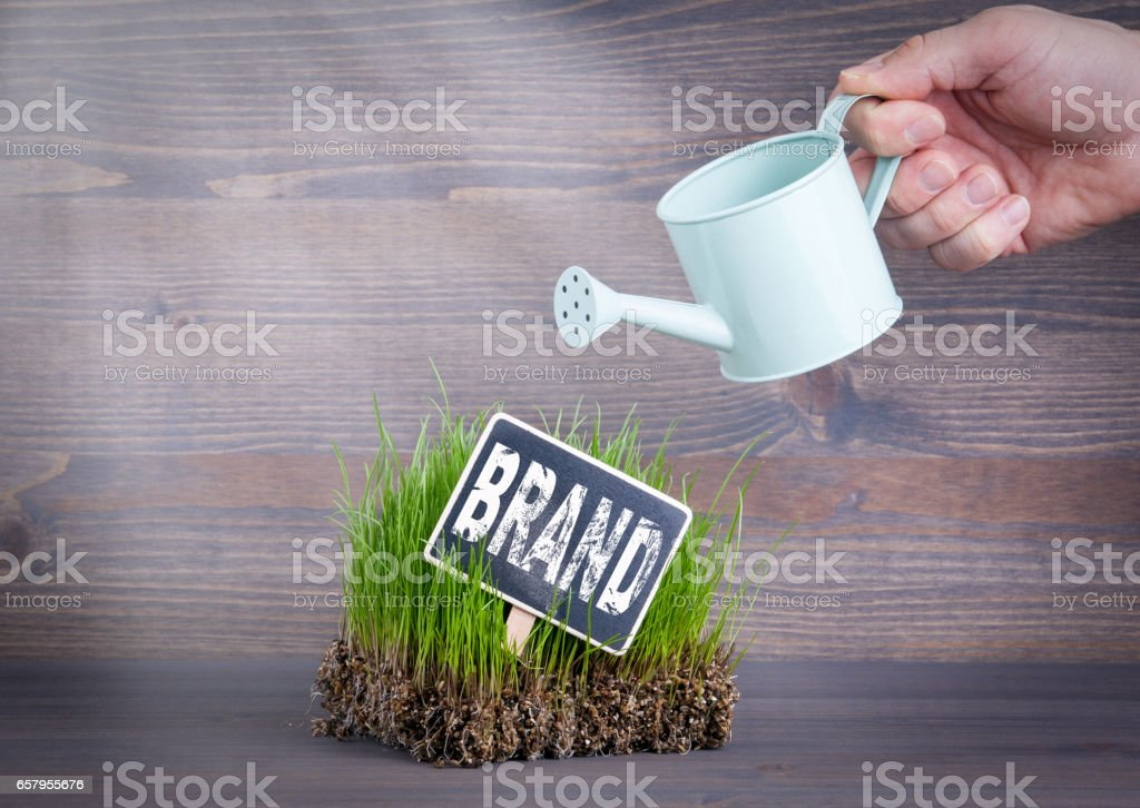 Brand concept. Fresh and green grass on wood background stock photo