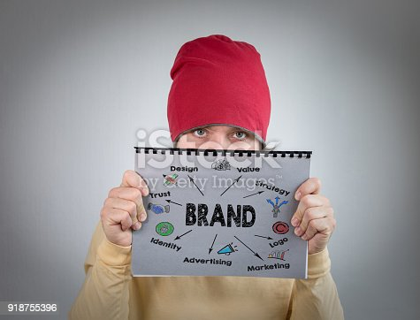 850881300 istock photo brand concept. man holding gray notebook, marketing and information 918755396