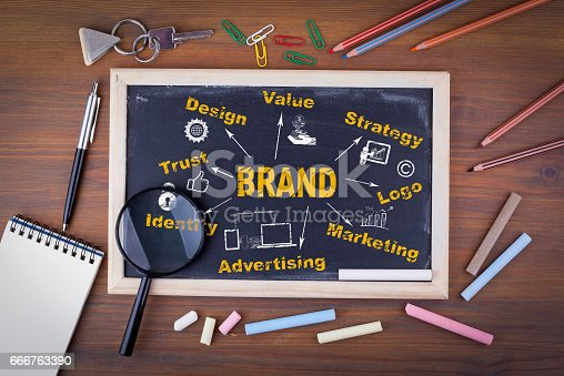 850881300 istock photo Brand concept. On a wooden table chalk board 666763390