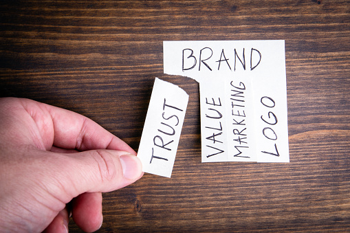 1150734727 istock photo Brand concept. Sticky note on wood background 1186115969
