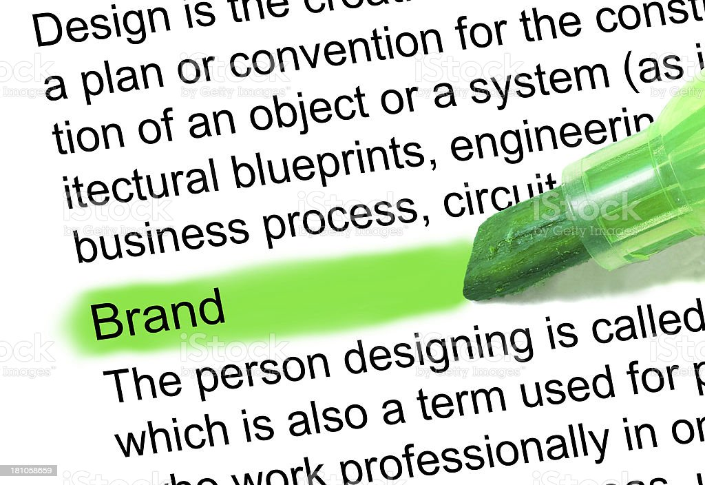 Brand definition marked in dictionary stock photo