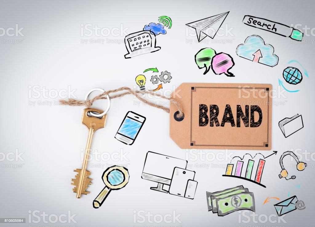 Brand. Key on a white background stock photo