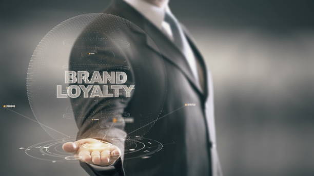 Brand Loyalty, word cloud concept on black background. stock photo