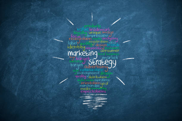 Brand Marketing Strategy Ideas on blueboard stock photo