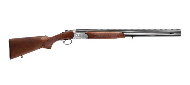 Side view of a shotgun. Isolated on white background.