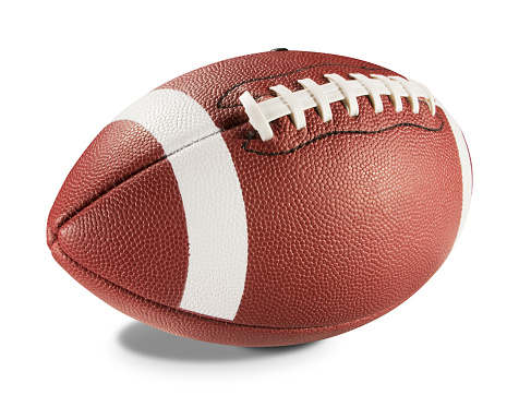 A brand new brown leather football with white stripes