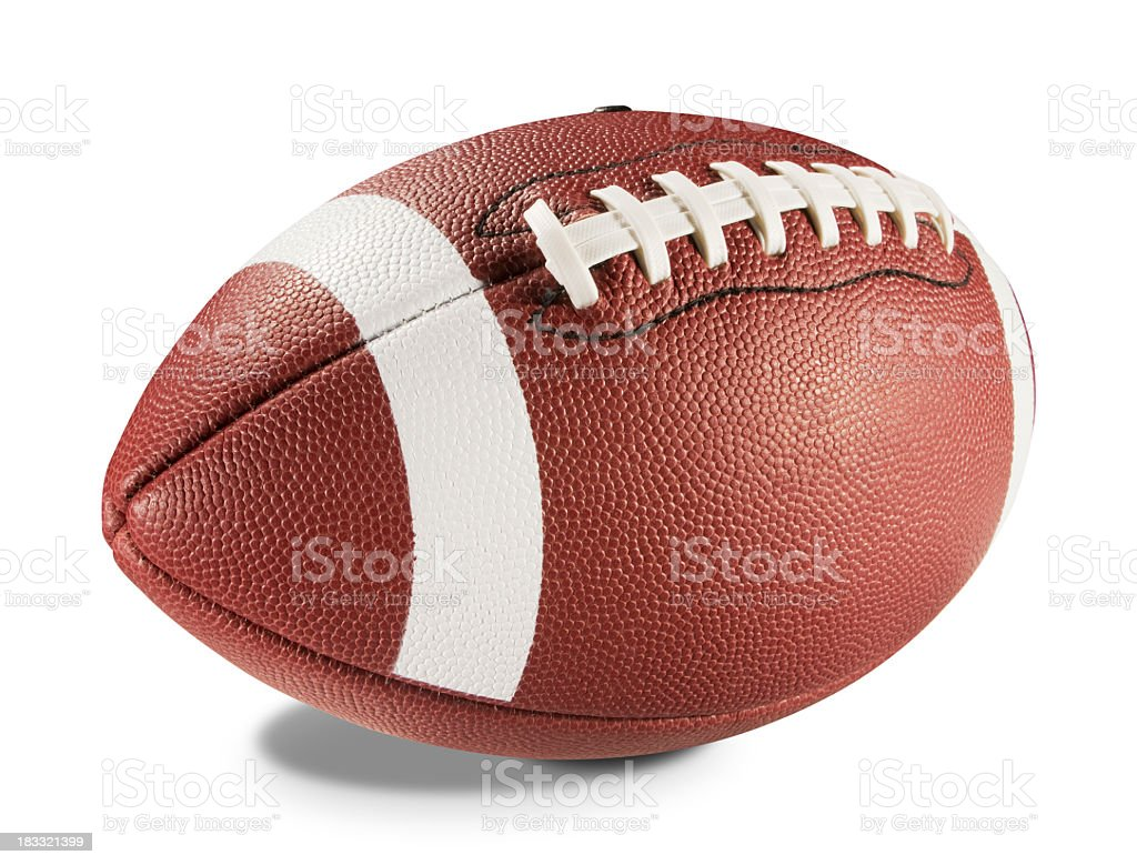 A brand new brown leather football with white stripes stock photo