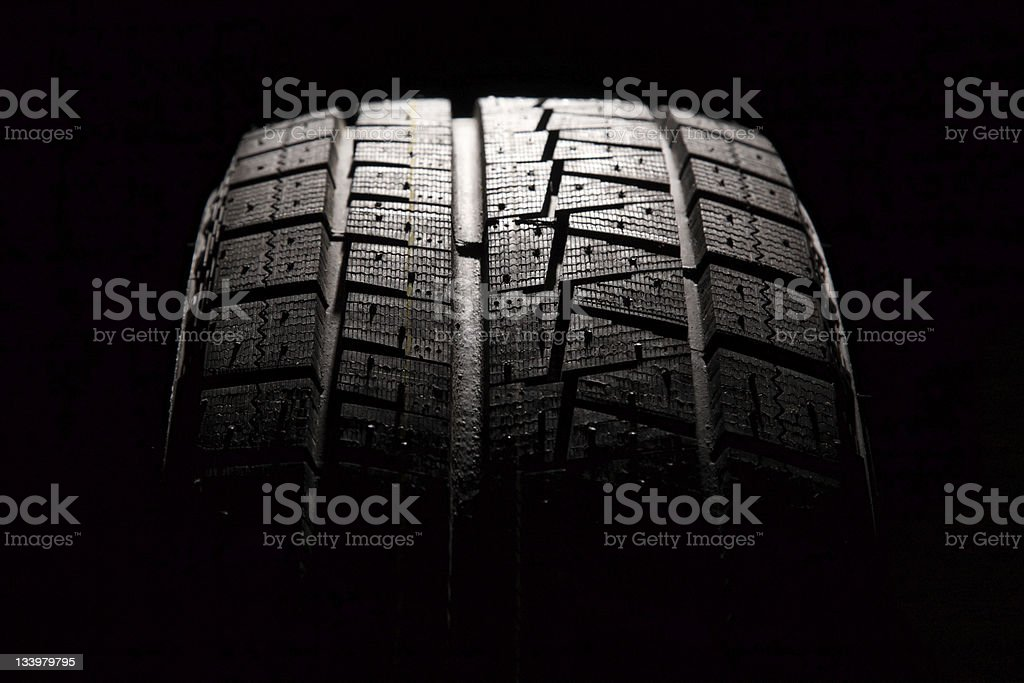 Brand new car tyre close-up. stock photo