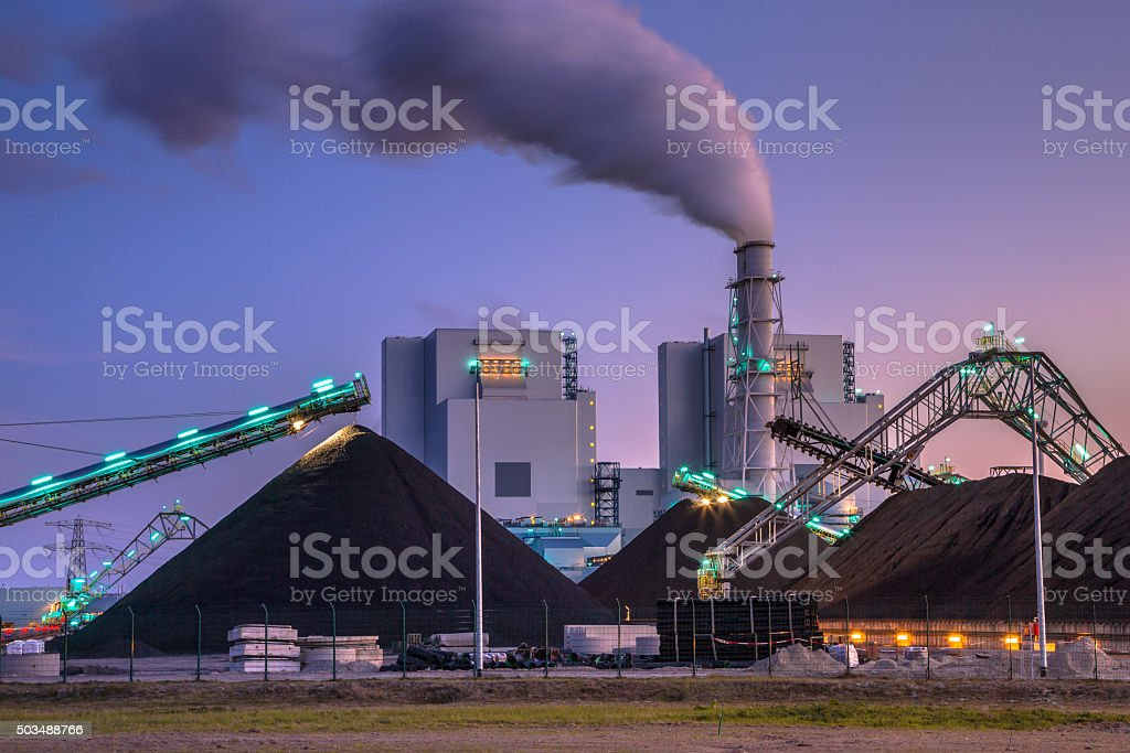 Brand new coal powered  plant in Eemshaven Coal plays a vital role in electricity generation worldwide. Altough modern plants are much more efficient than before, it is not a clean form of electricity. Air Pollution Stock Photo