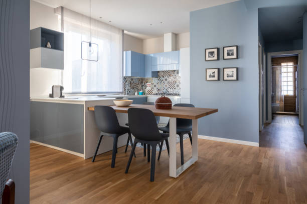 Brand new empty modern design apartment for rental stock photo