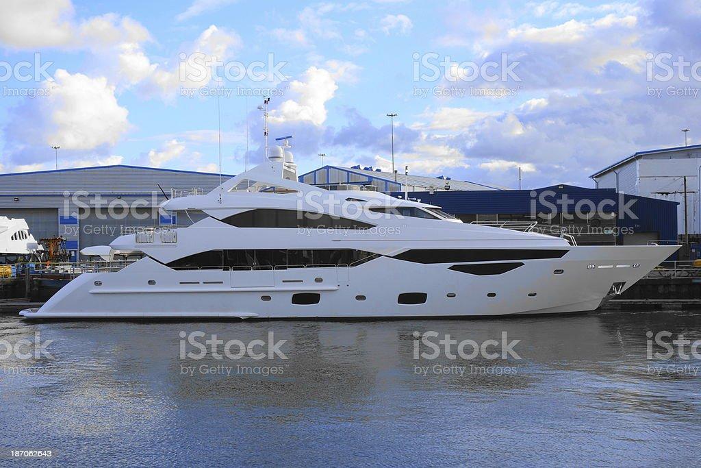 brand new luxury yacht stock photo