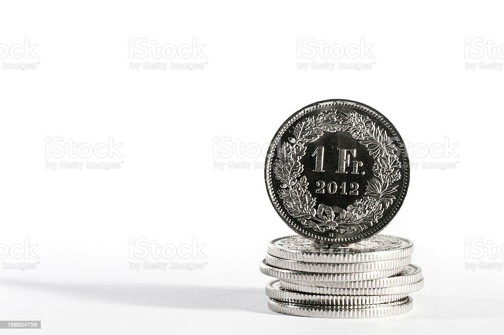 brand new one swiss franc with year 2012 stock photo