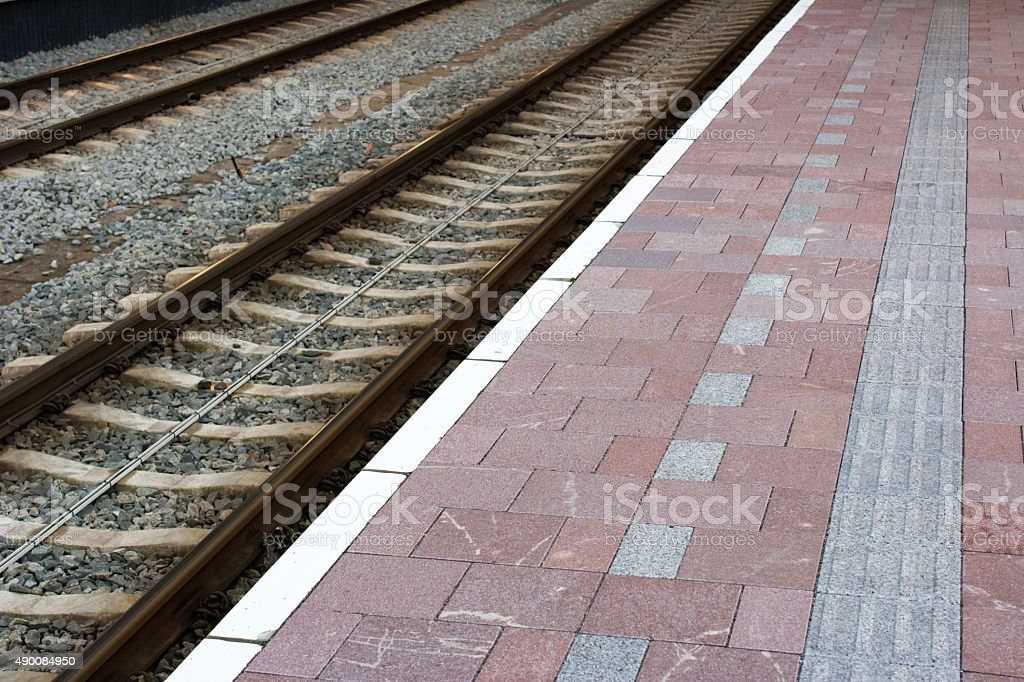 Brand new Station platform stock photo