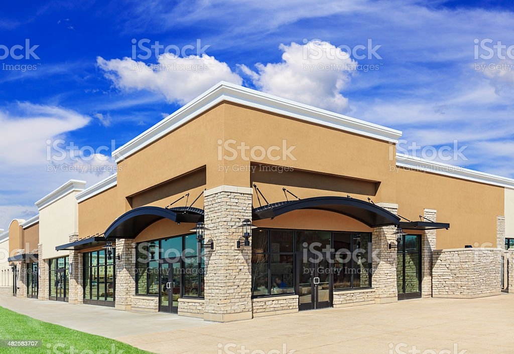 Brand New Strip Mall stock photo