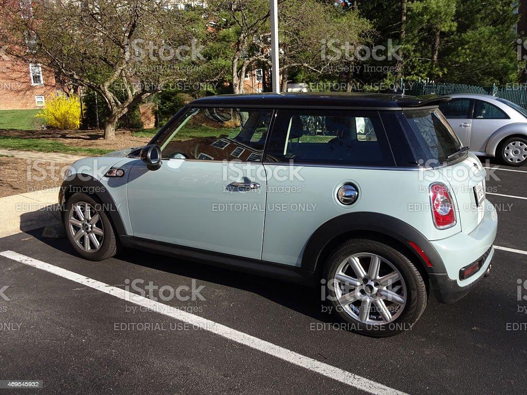 Brand New Turquoise Mini Cooper stock photo