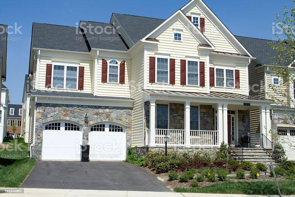 Brand New Vinyl Siding Single Family Home Suburban Maryland, USA royalty-free stock photo