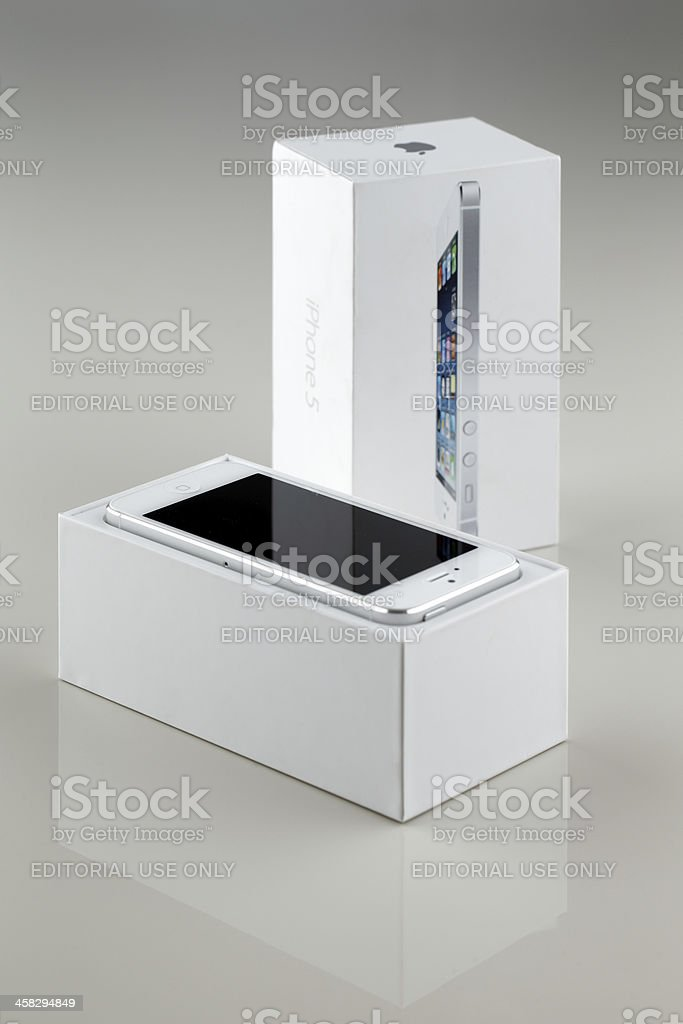 Brand new white Apple iPhone 5 in a box royalty-free stock photo