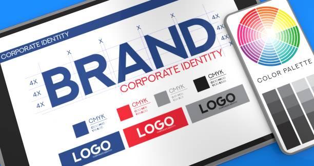 concept de présentation de marque - graphisme photos et images de collection