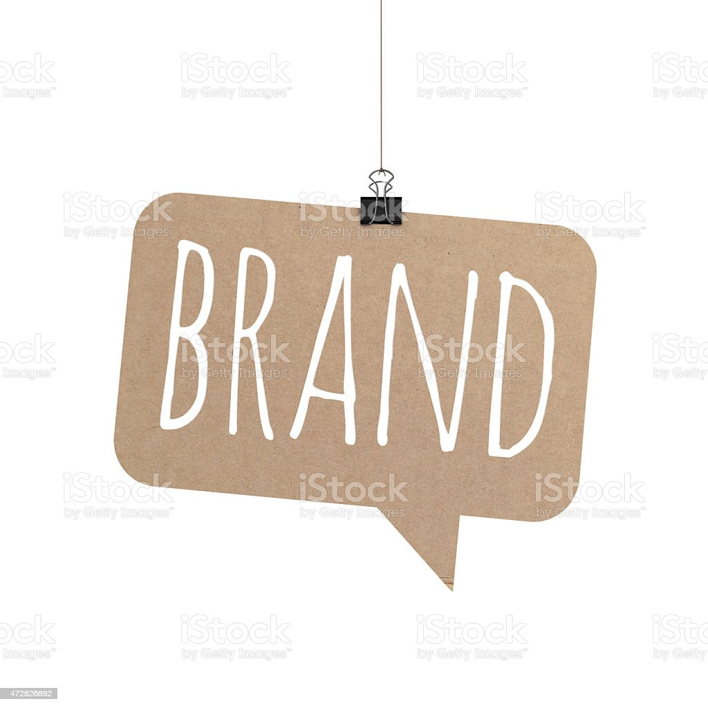 Brand speech bubble hanging on a string stock photo