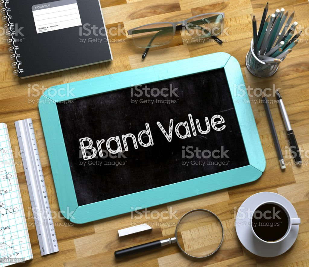 Brand Value on Small Chalkboard. 3D - foto stock