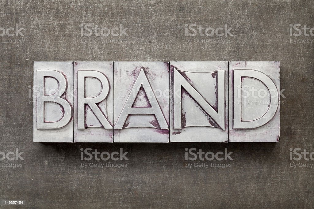 brand word in metal type royalty-free stock photo