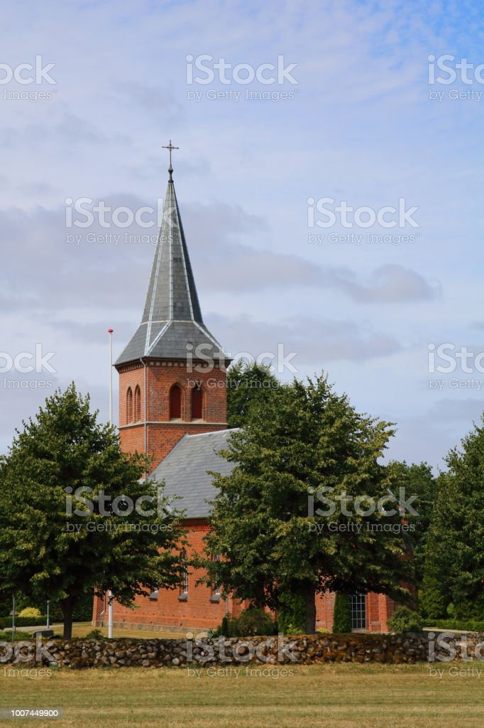 Brande Kirke Church on Hærvejen the army road pilgrim route stock photo