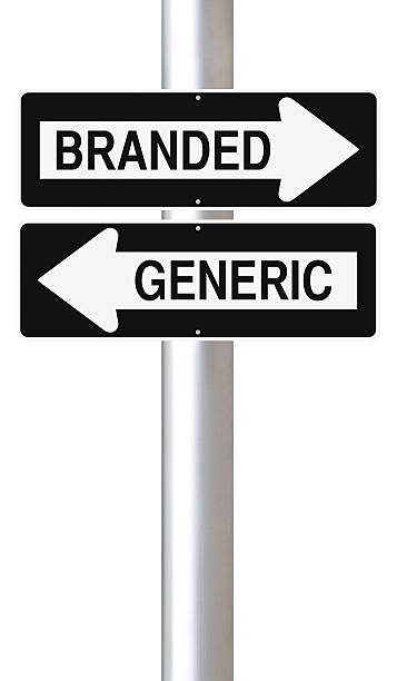 Branded Versus Generic Modified one way street signs on Branded versus Generic products generic drug stock pictures, royalty-free photos & images