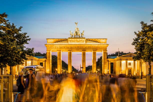 Brandenburg gate after the sunset in summer, Berlin stock photo