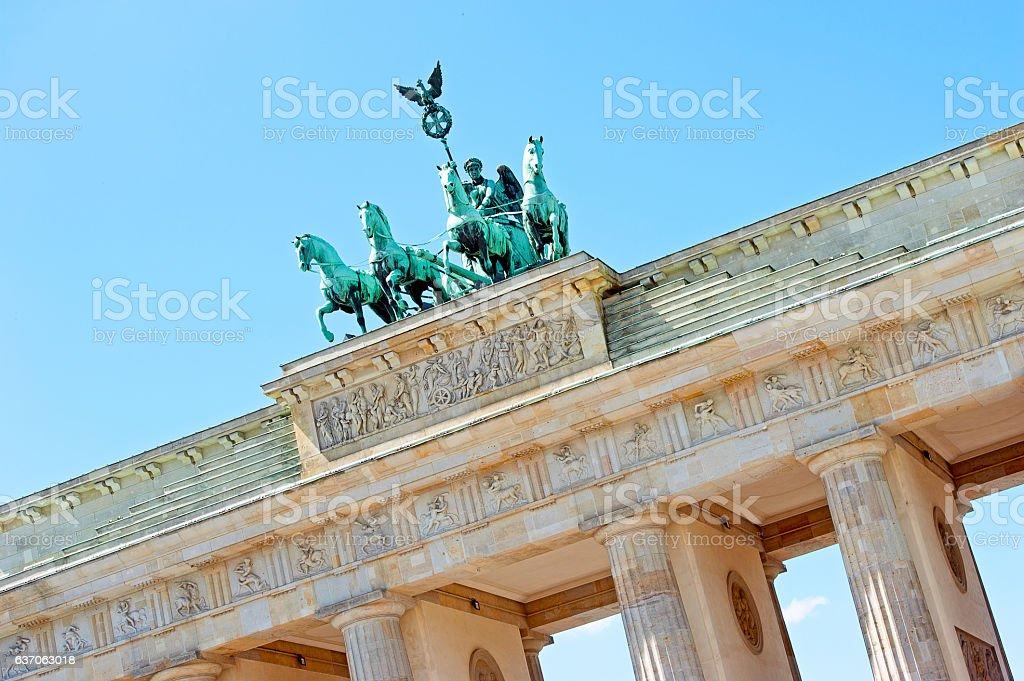 Brandenburg Gate and Qaudriga detail, Berlin, germany stock photo