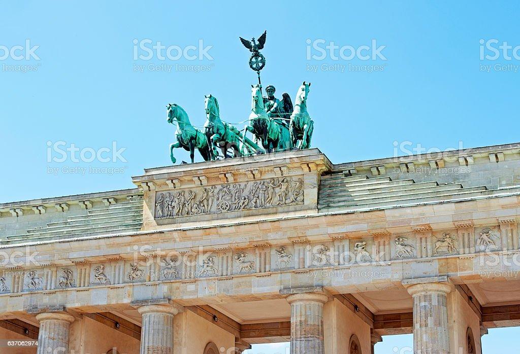 Brandenburg Gate and Quadriga statue, Berlin, Germany stock photo