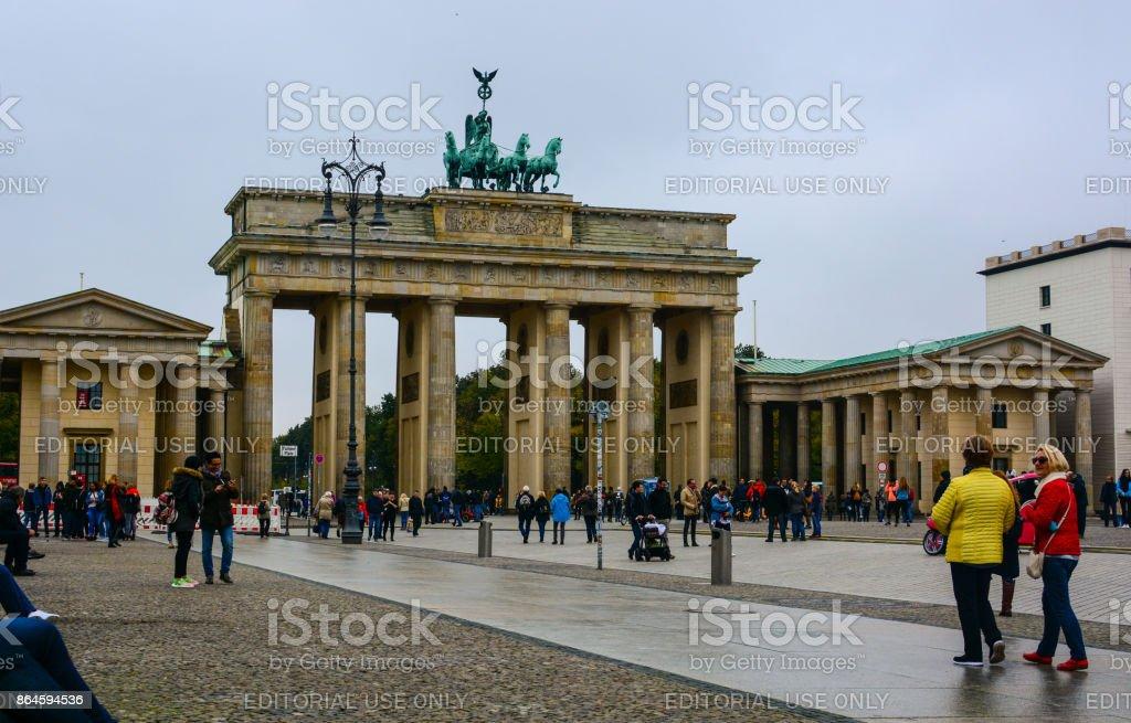 Brandenburg Gate and rainy day in Berlin stock photo