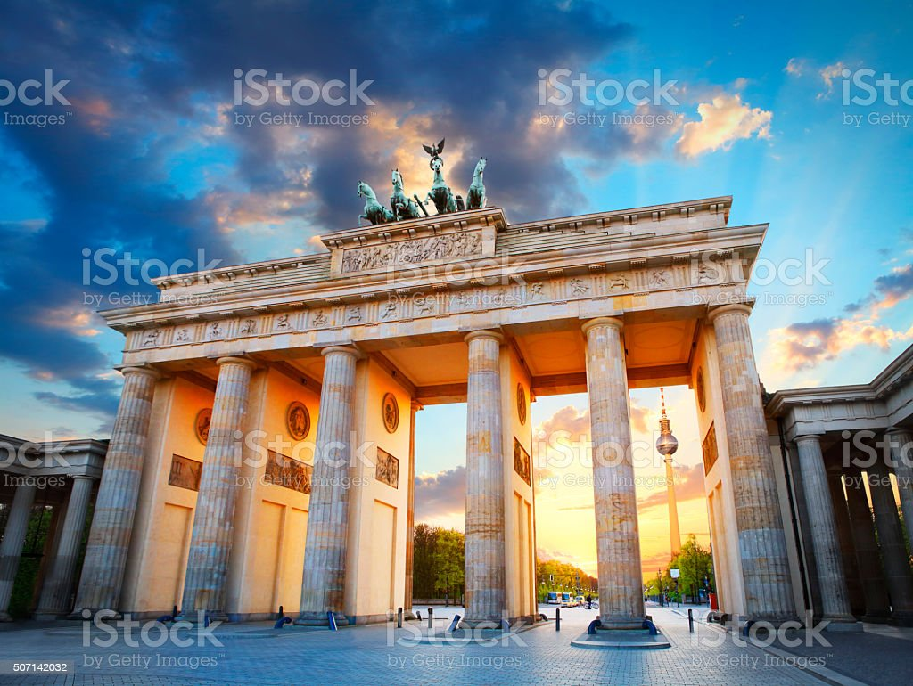 Brandenburg Gate and the TV tower in Berlin stock photo