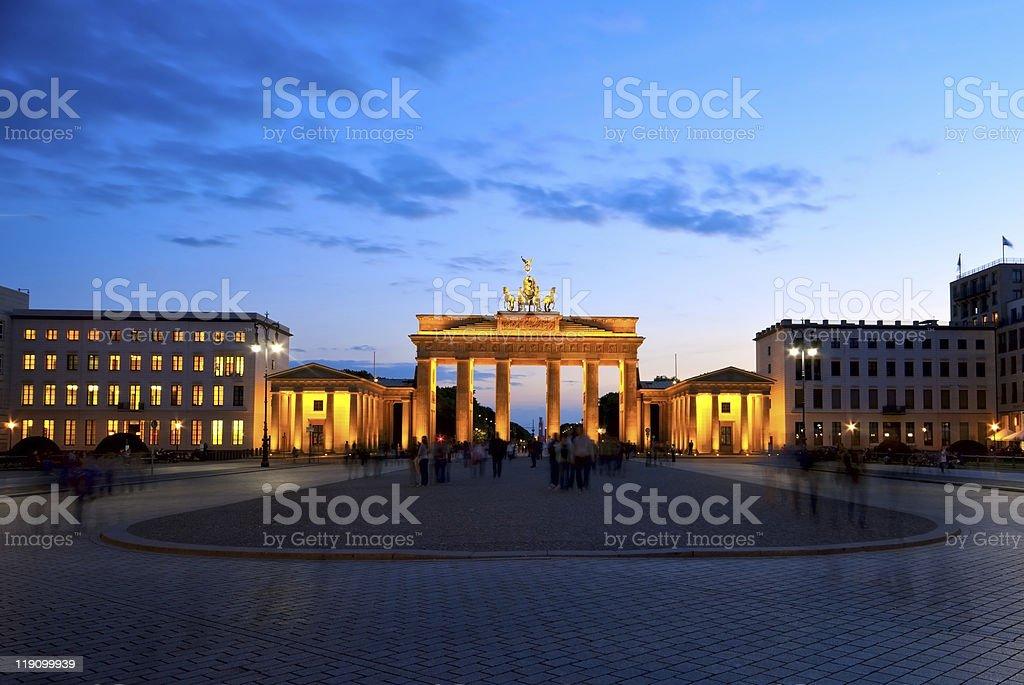 Brandenburg Gate at night stock photo