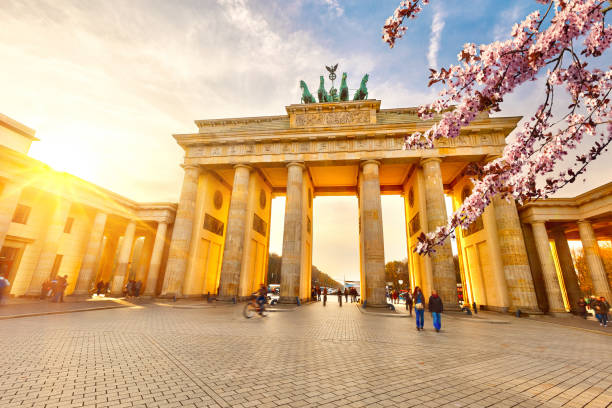 Brandenburg gate at spring stock photo