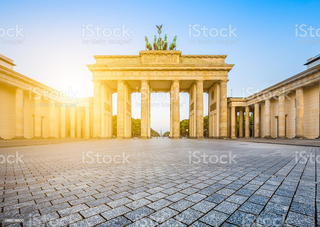 Brandenburg Gate at sunrise, Berlin, Germany stock photo