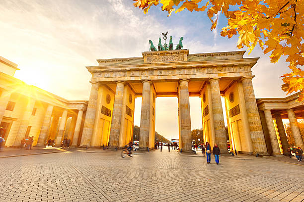 Brandenburg gate at sunset stock photo