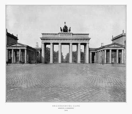 Antique German Photograph: Brandenburg Gate, Berlin, Germany, 1893. Source: Original edition from my own archives. Copyright has expired on this artwork. Digitally restored.