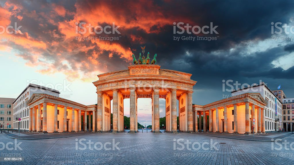 Brandenburg Gate, Berlin, Germany - panorama stock photo