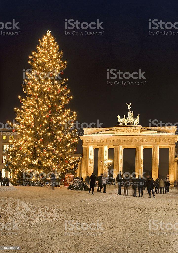 brandenburg gate christmas stock photo