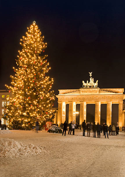 brandenburg gate christmas stock photo