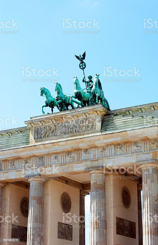 Brandenburg Gate detail, Berlin, Germany stock photo