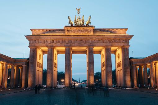 Brandenburg Gate illuminated at night, Berlin, Gemany