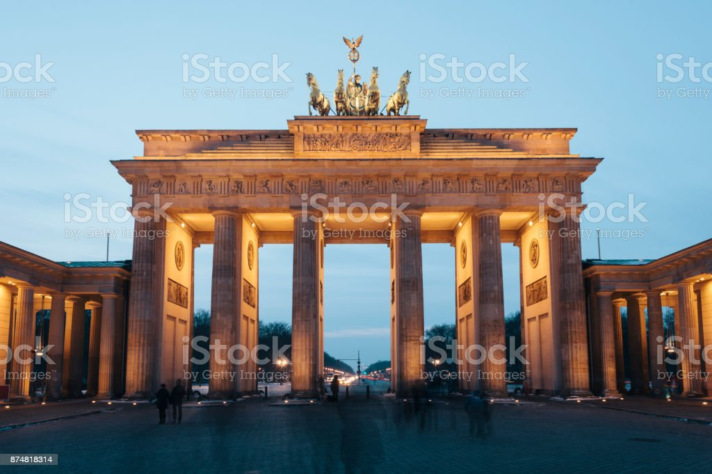 Brandenburg Gate illuminated at night, Berlin, Gemany stock photo
