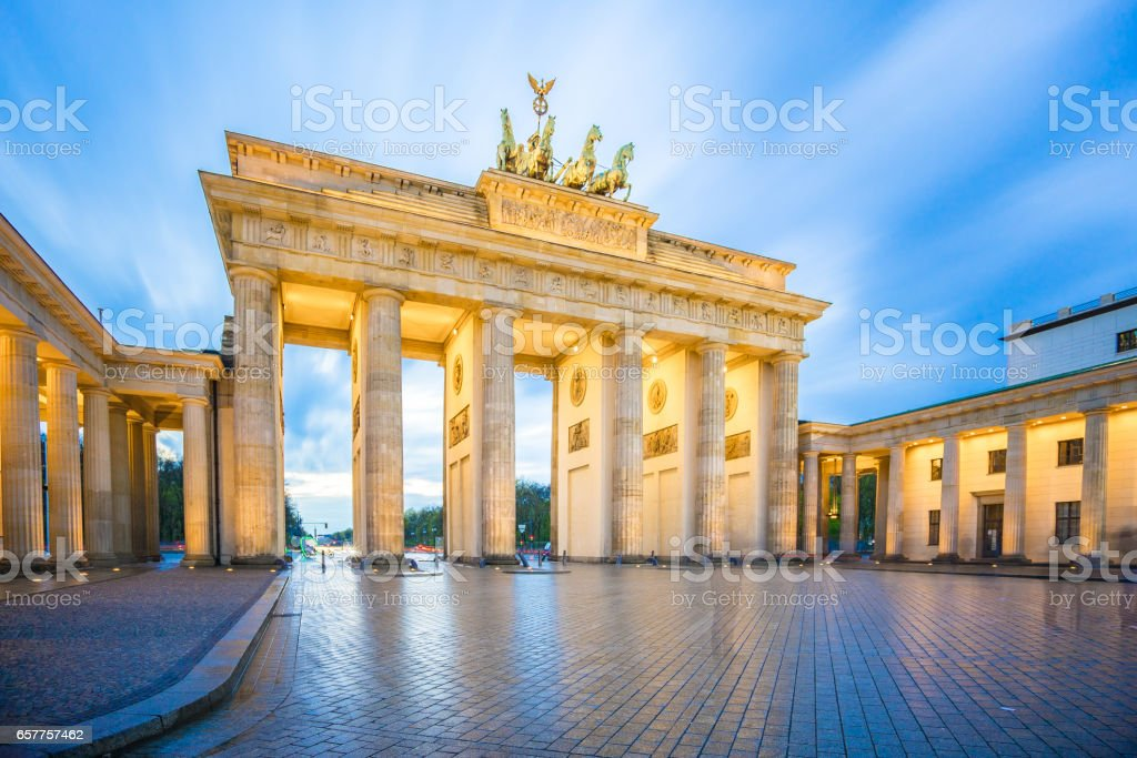 Brandenburg Gate in Berlin city, Germany stock photo