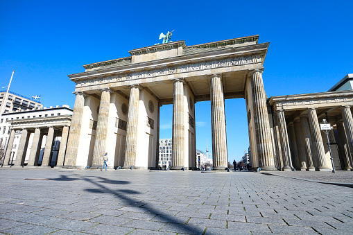 Brandenburg Gate in Berlin during coronavirus shutdown in Germany