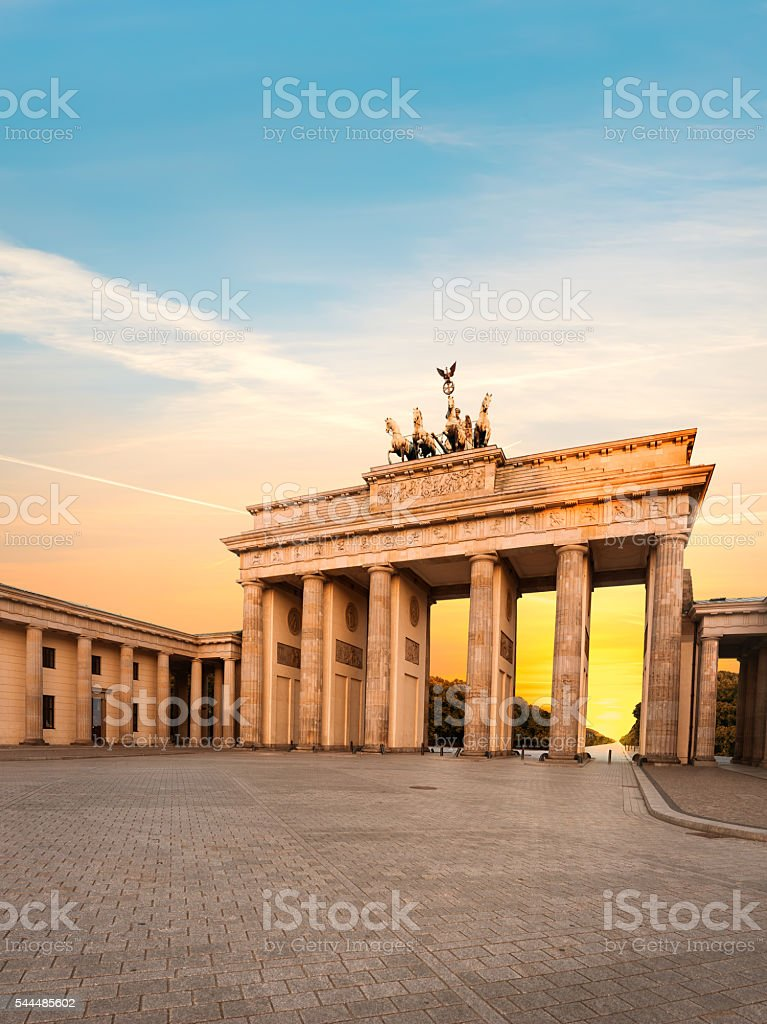 Brandenburg Gate in Berlin, Germany at sunset stock photo