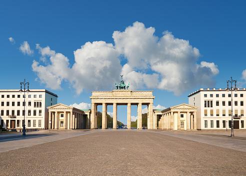 Brandenburg Gate in Berlin, Germany, on a bright day