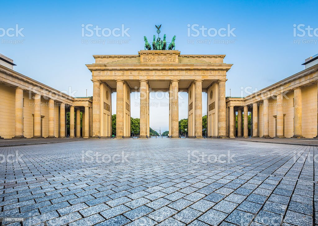 Brandenburg Gate in early morning light, Berlin, Germany stock photo