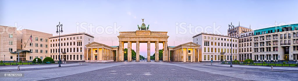 Brandenburg Gate in panoramic view, Berlin, Germany stock photo