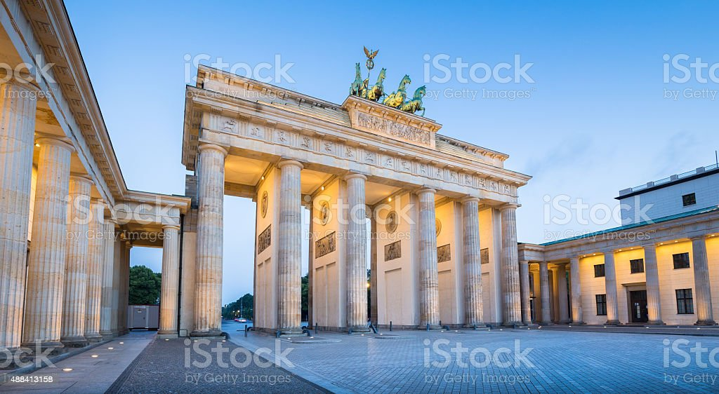 Brandenburg Gate in twilight at dawn, Berlin, Germany stock photo